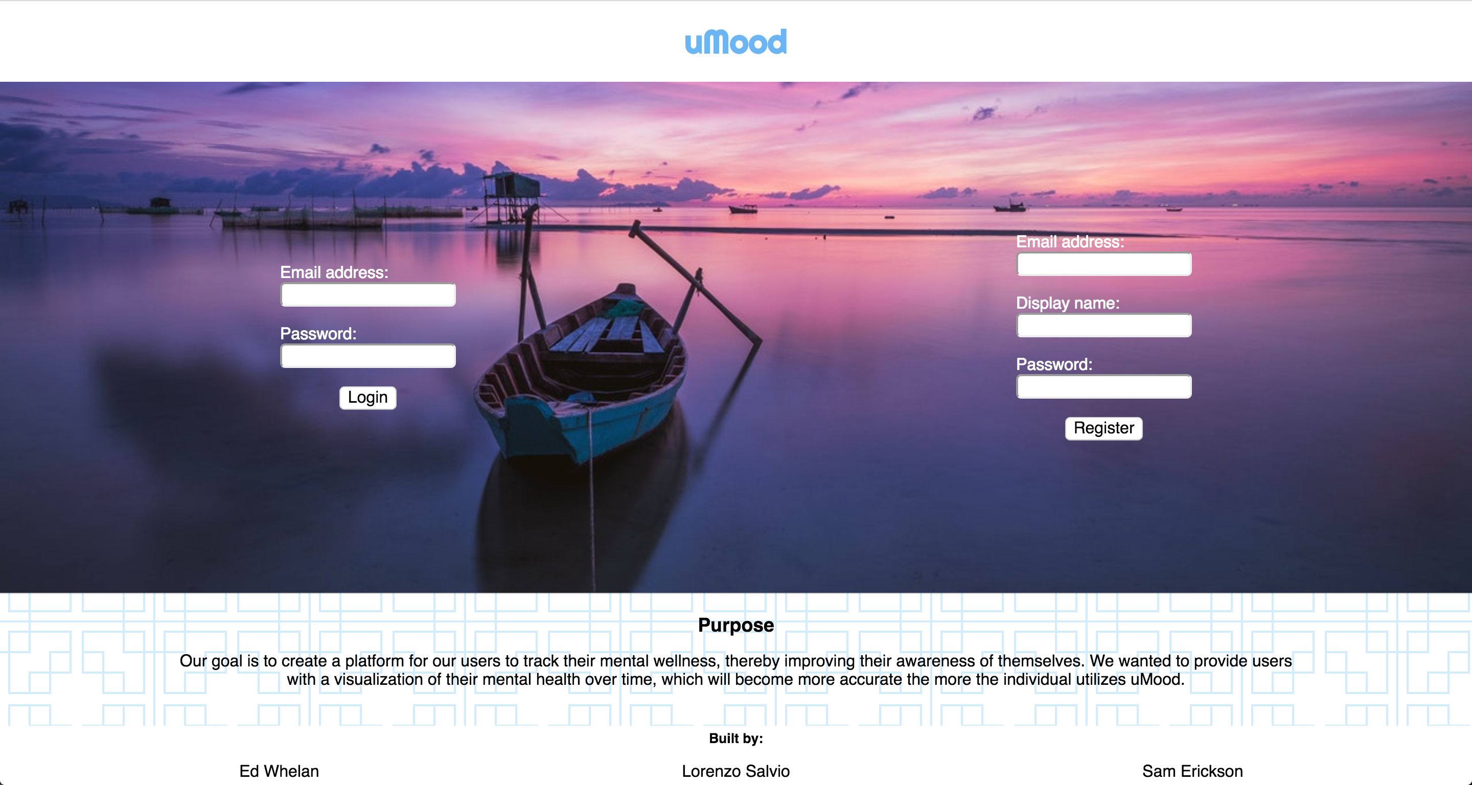 screen shot of u-mood.com landing page